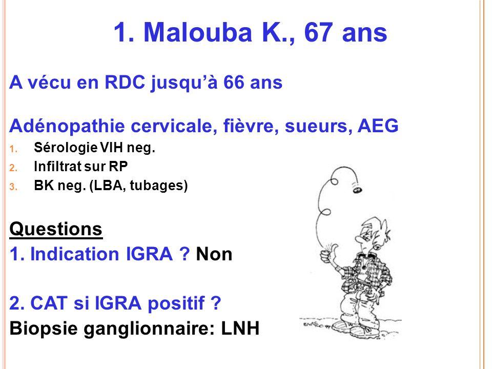 1.Malouba K., 67 ans A vécu en RDC jusquà 66 ans Adénopathie cervicale, fièvre, sueurs, AEG 1.