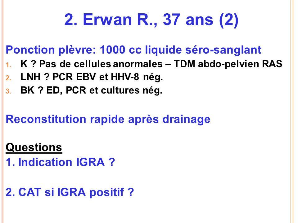2.Erwan R., 37 ans (2) Ponction plèvre: 1000 cc liquide séro-sanglant 1.