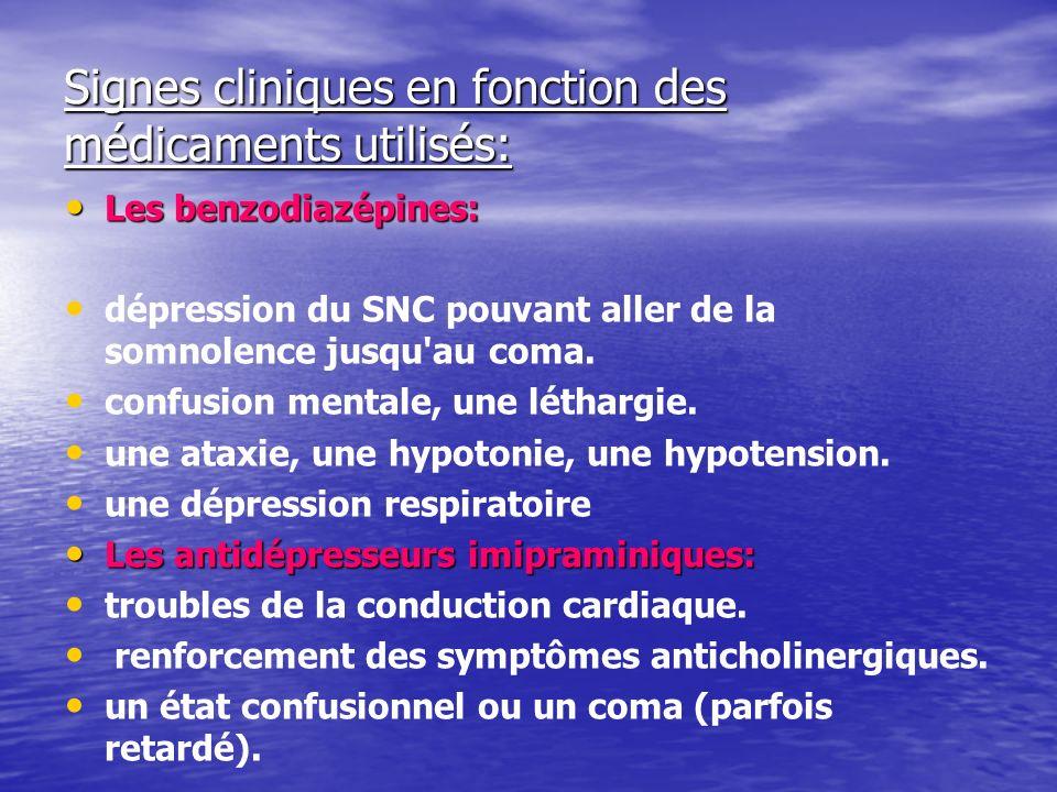 Signes cliniques en fonction des médicaments utilisés: Les benzodiazépines: Les benzodiazépines: dépression du SNC pouvant aller de la somnolence jusqu au coma.