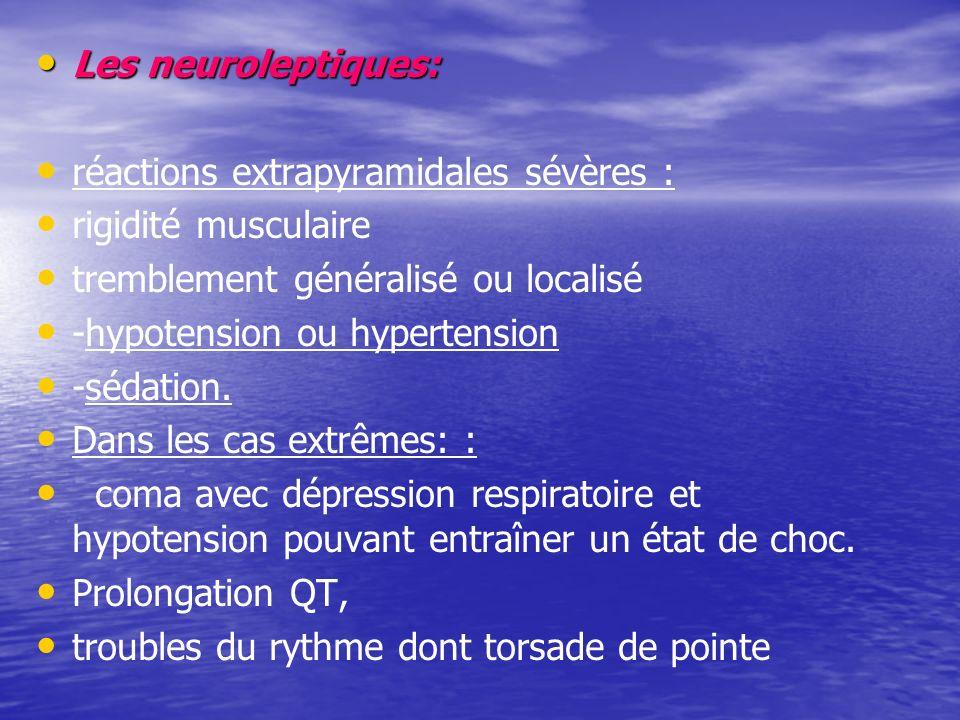 Les neuroleptiques: Les neuroleptiques: réactions extrapyramidales sévères : rigidité musculaire tremblement généralisé ou localisé -hypotension ou hypertension -sédation.