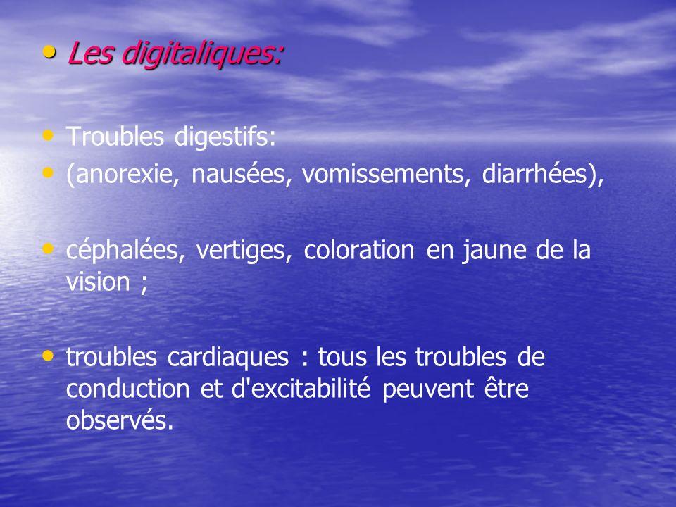 Les digitaliques: Les digitaliques: Troubles digestifs: (anorexie, nausées, vomissements, diarrhées), céphalées, vertiges, coloration en jaune de la vision ; troubles cardiaques : tous les troubles de conduction et d excitabilité peuvent être observés.