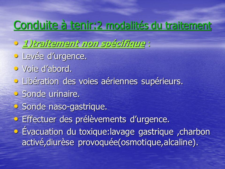Conduite à tenir: 2 modalités du traitement 1)traitement non spécifique : 1)traitement non spécifique : Levée durgence.