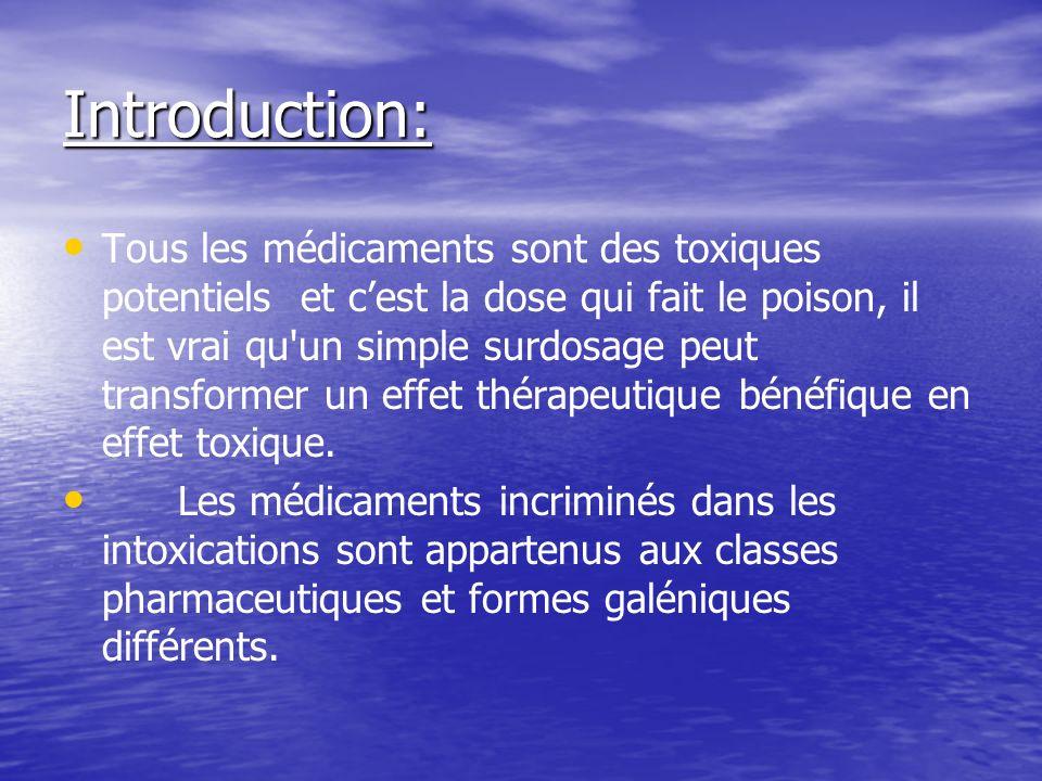 Introduction: Tous les médicaments sont des toxiques potentiels et cest la dose qui fait le poison, il est vrai qu un simple surdosage peut transformer un effet thérapeutique bénéfique en effet toxique.
