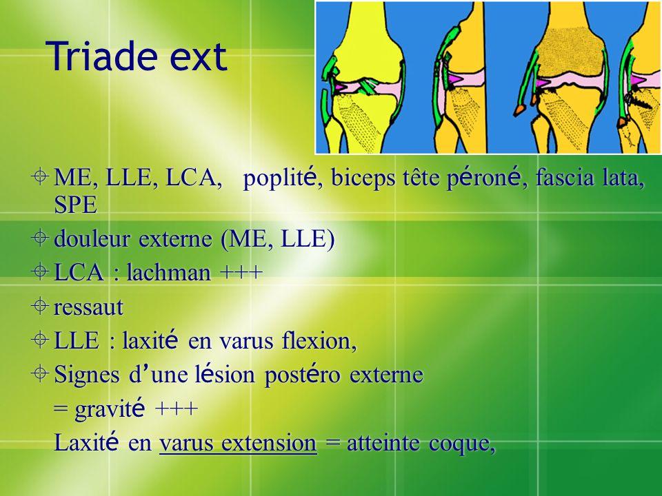 ME, LLE, LCA, poplit é, biceps tête p é ron é, fascia lata, SPE douleur externe (ME, LLE) LCA : lachman +++ ressaut LLE : laxit é en varus flexion, Si