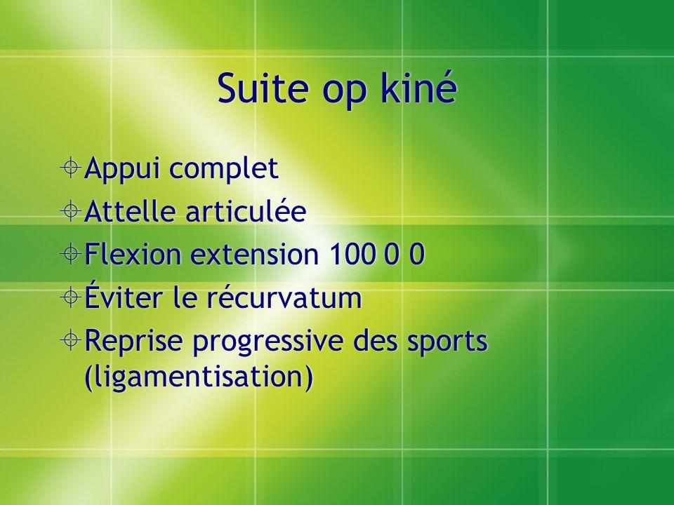 Suite op kiné Appui complet Attelle articulée Flexion extension 100 0 0 Éviter le récurvatum Reprise progressive des sports (ligamentisation) Appui co
