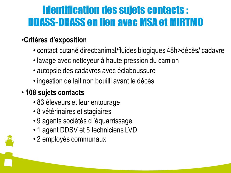 Identification des sujets contacts : DDASS-DRASS en lien avec MSA et MIRTMO Critères dexposition contact cutané direct:animal/fluides biogiques 48h>dé