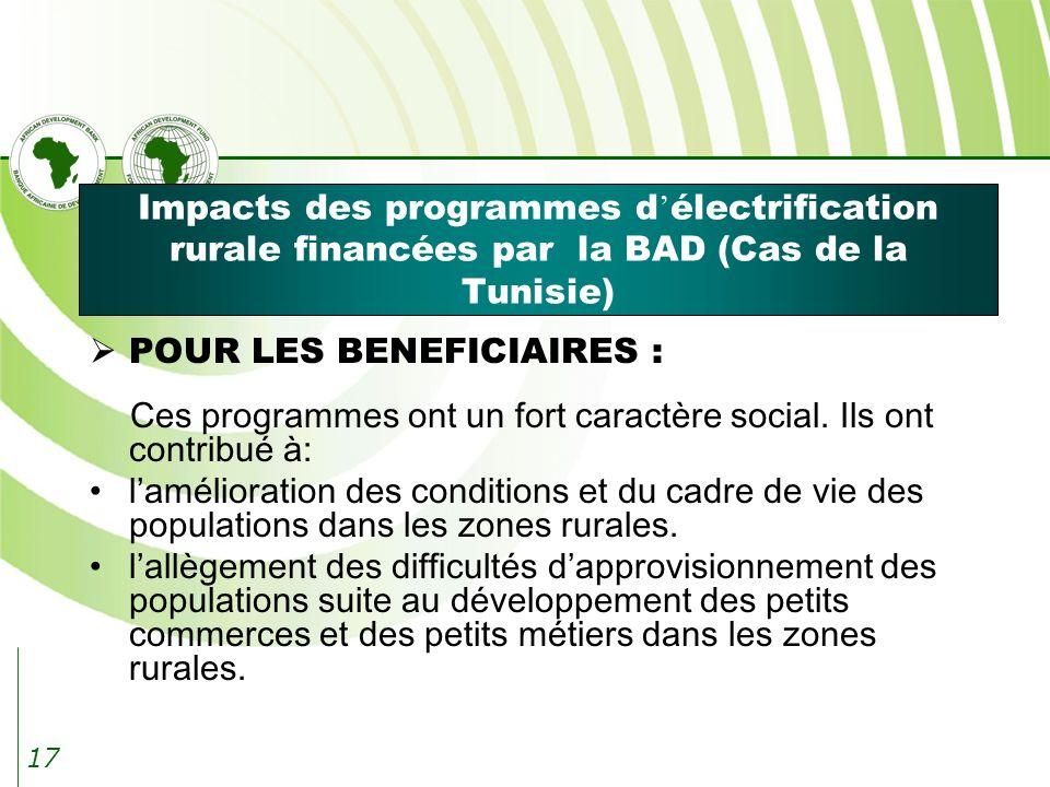 17 Impacts des programmes d électrification rurale financées par la BAD (Cas de la Tunisie) POUR LES BENEFICIAIRES : Ces programmes ont un fort caractère social.