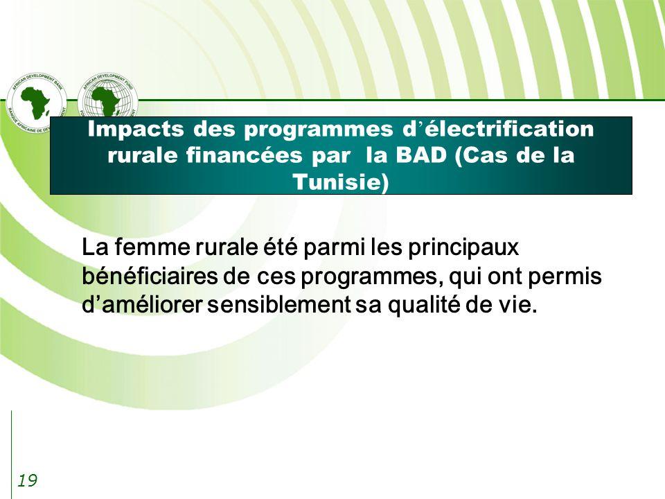 19 Impacts des programmes d électrification rurale financées par la BAD (Cas de la Tunisie) La femme rurale été parmi les principaux bénéficiaires de ces programmes, qui ont permis daméliorer sensiblement sa qualité de vie.