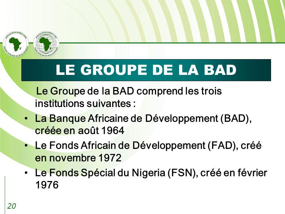 20 LE GROUPE DE LA BAD Le Groupe de la BAD comprend les trois institutions suivantes : La Banque Africaine de Développement (BAD), créée en août 1964 Le Fonds Africain de Développement (FAD), créé en novembre 1972 Le Fonds Spécial du Nigeria (FSN), créé en février 1976