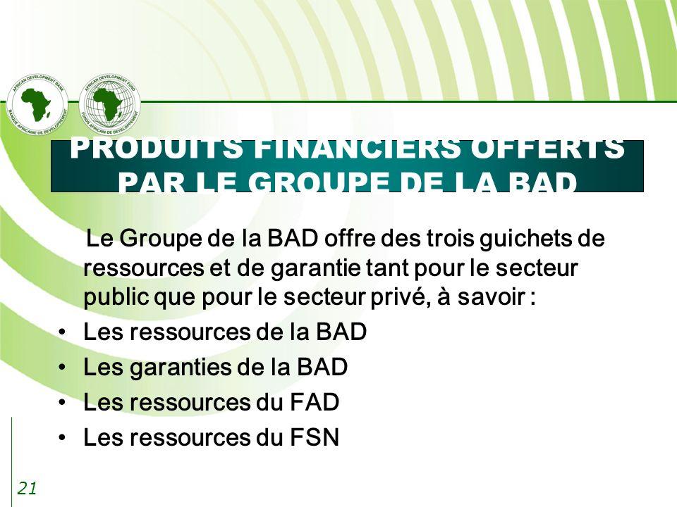 21 PRODUITS FINANCIERS OFFERTS PAR LE GROUPE DE LA BAD Le Groupe de la BAD offre des trois guichets de ressources et de garantie tant pour le secteur public que pour le secteur privé, à savoir : Les ressources de la BAD Les garanties de la BAD Les ressources du FAD Les ressources du FSN