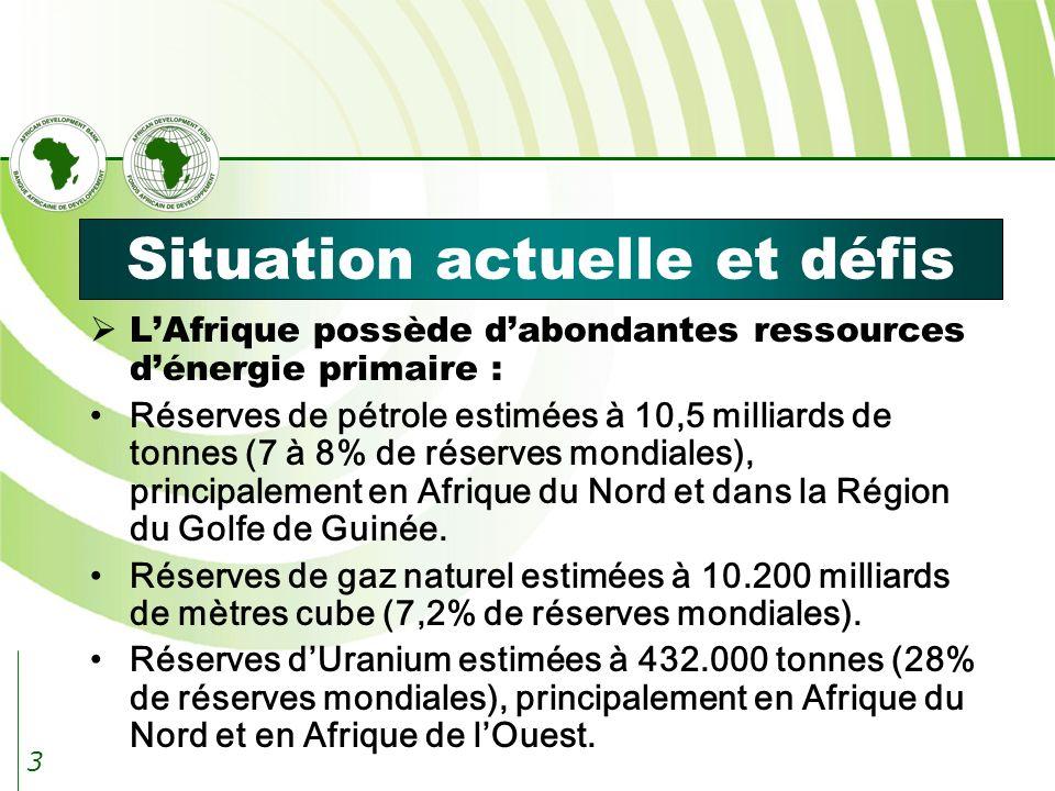3 Situation actuelle et défis LAfrique possède dabondantes ressources dénergie primaire : Réserves de pétrole estimées à 10,5 milliards de tonnes (7 à 8% de réserves mondiales), principalement en Afrique du Nord et dans la Région du Golfe de Guinée.