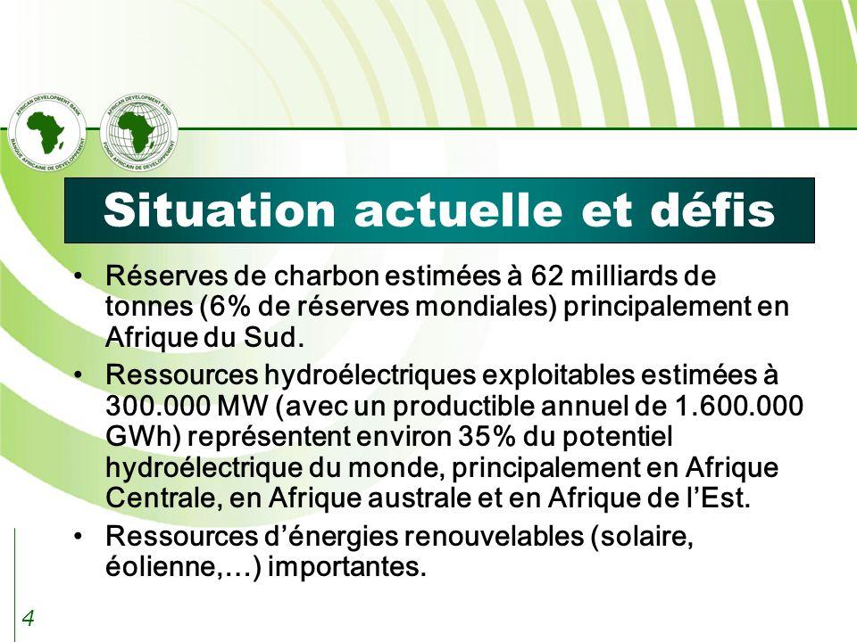 4 Situation actuelle et défis Réserves de charbon estimées à 62 milliards de tonnes (6% de réserves mondiales) principalement en Afrique du Sud.