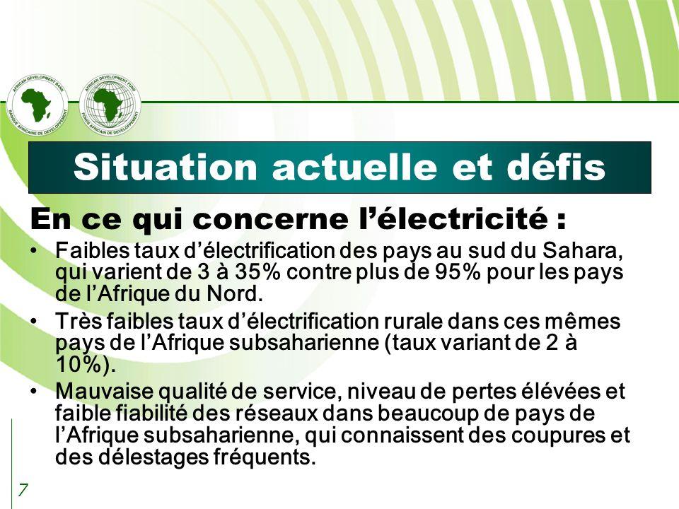 7 Situation actuelle et défis En ce qui concerne lélectricité : Faibles taux délectrification des pays au sud du Sahara, qui varient de 3 à 35% contre plus de 95% pour les pays de lAfrique du Nord.