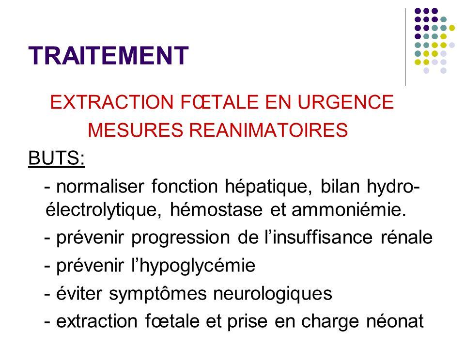 TRAITEMENT EXTRACTION FŒTALE EN URGENCE MESURES REANIMATOIRES BUTS: - normaliser fonction hépatique, bilan hydro- électrolytique, hémostase et ammonié