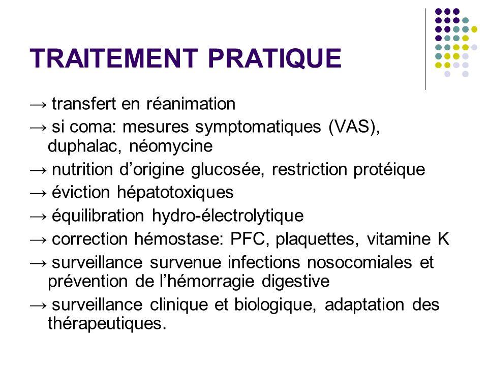 TRAITEMENT PRATIQUE transfert en réanimation si coma: mesures symptomatiques (VAS), duphalac, néomycine nutrition dorigine glucosée, restriction protéique éviction hépatotoxiques équilibration hydro-électrolytique correction hémostase: PFC, plaquettes, vitamine K surveillance survenue infections nosocomiales et prévention de lhémorragie digestive surveillance clinique et biologique, adaptation des thérapeutiques.