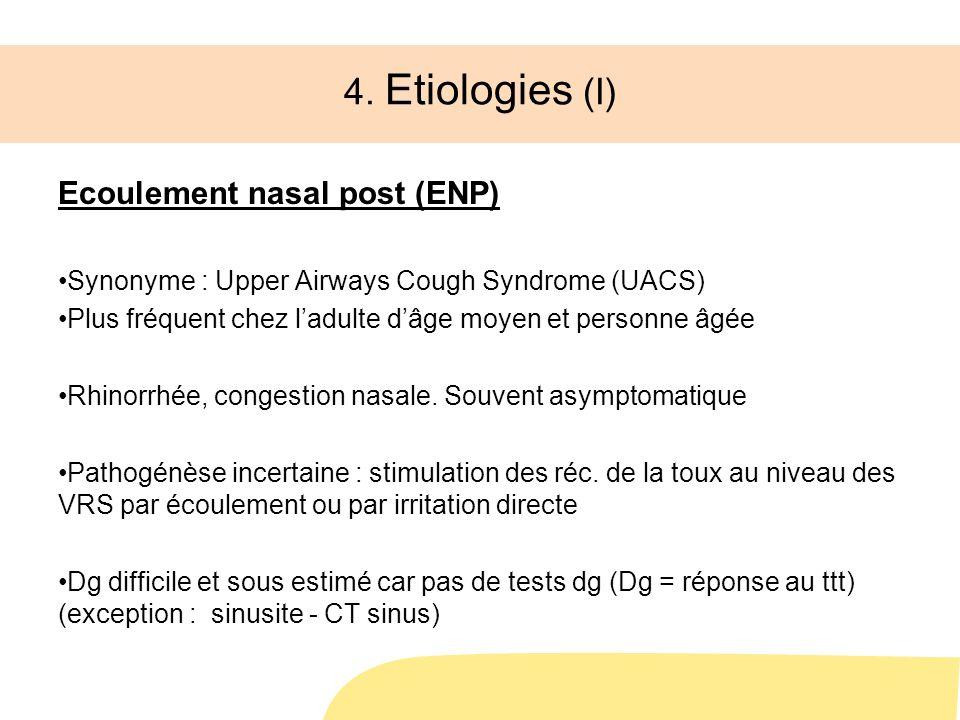 4. Etiologies (I) Ecoulement nasal post (ENP) Synonyme : Upper Airways Cough Syndrome (UACS) Plus fréquent chez ladulte dâge moyen et personne âgée Rh