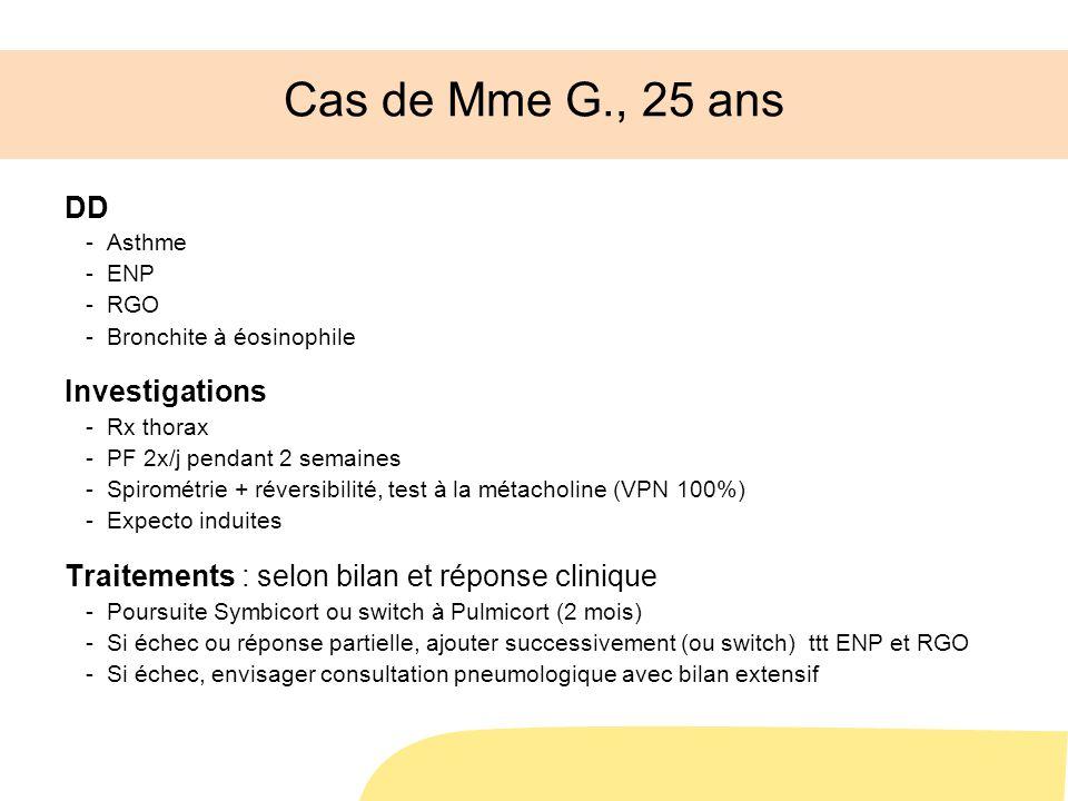 Cas de Mme G., 25 ans DD -Asthme -ENP -RGO -Bronchite à éosinophile Investigations -Rx thorax -PF 2x/j pendant 2 semaines -Spirométrie + réversibilité