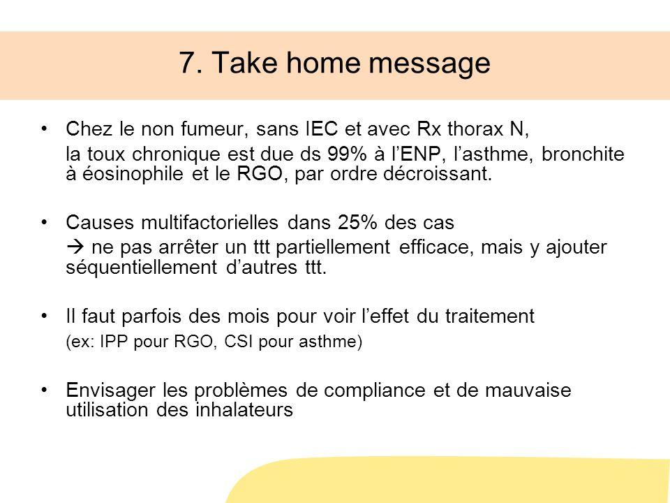 7. Take home message Chez le non fumeur, sans IEC et avec Rx thorax N, la toux chronique est due ds 99% à lENP, lasthme, bronchite à éosinophile et le