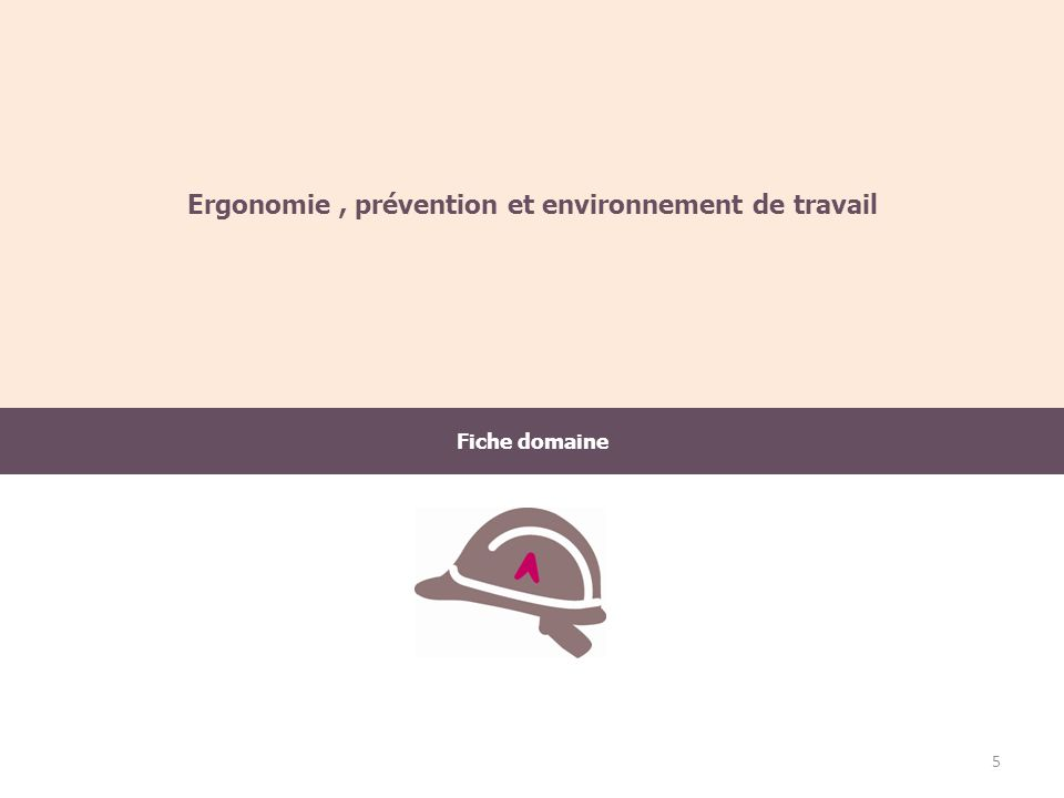 Fiche domaine Ergonomie, prévention et environnement de travail 5