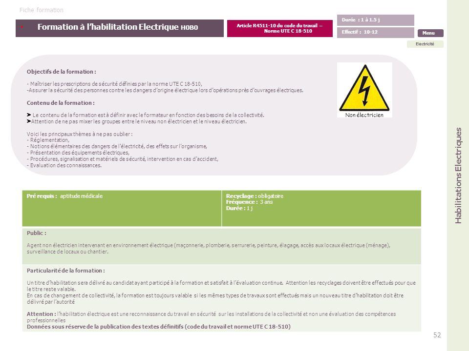 Formation à lhabilitation Electrique H0B0 Objectifs de la formation : - Maîtriser les prescriptions de sécurité définies par la norme UTE C 18-510, -A
