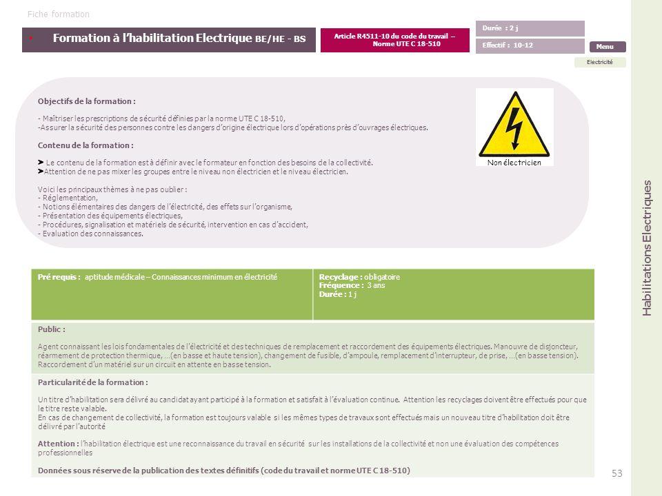 Formation à lhabilitation Electrique BE/HE - BS Objectifs de la formation : - Maîtriser les prescriptions de sécurité définies par la norme UTE C 18-5