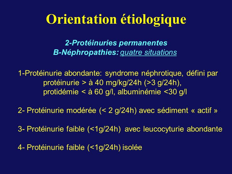 Orientation étiologique 2-Protéinuries permanentes B-Néphropathies: quatre situations 1-Protéinurie abondante: syndrome néphrotique, défini par protéinurie > à 40 mg/kg/24h (>3 g/24h), protidémie < à 60 g/l, albuminémie <30 g/l 2- Protéinurie modérée (< 2 g/24h) avec sédiment « actif » 3- Protéinurie faible (<1g/24h) avec leucocyturie abondante 4- Protéinurie faible (<1g/24h) isolée