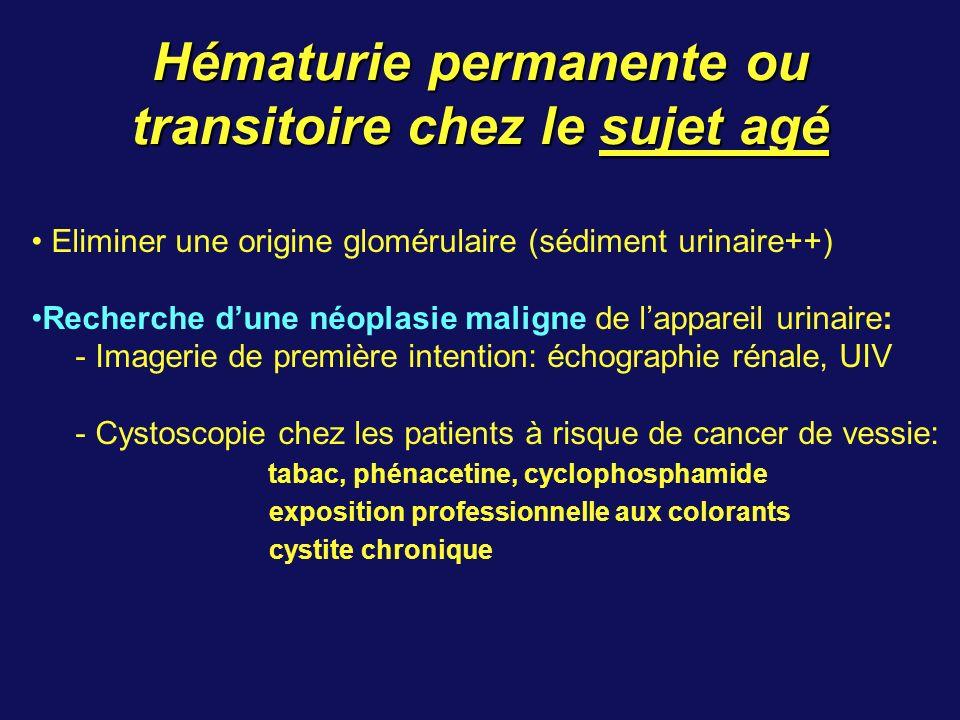 Hématurie permanente ou transitoire chez le sujet agé Eliminer une origine glomérulaire (sédiment urinaire++) Recherche dune néoplasie maligne de lappareil urinaire: - Imagerie de première intention: échographie rénale, UIV - Cystoscopie chez les patients à risque de cancer de vessie: tabac, phénacetine, cyclophosphamide exposition professionnelle aux colorants cystite chronique