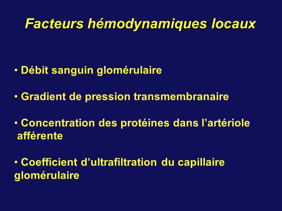Facteurs hémodynamiques locaux Débit sanguin glomérulaire Gradient de pression transmembranaire Concentration des protéines dans lartériole afférente Coefficient dultrafiltration du capillaire glomérulaire