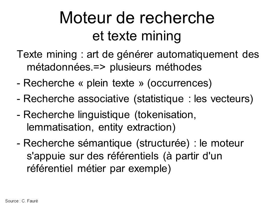 Moteur de recherche et texte mining Texte mining : art de générer automatiquement des métadonnées.=> plusieurs méthodes - Recherche « plein texte » (o
