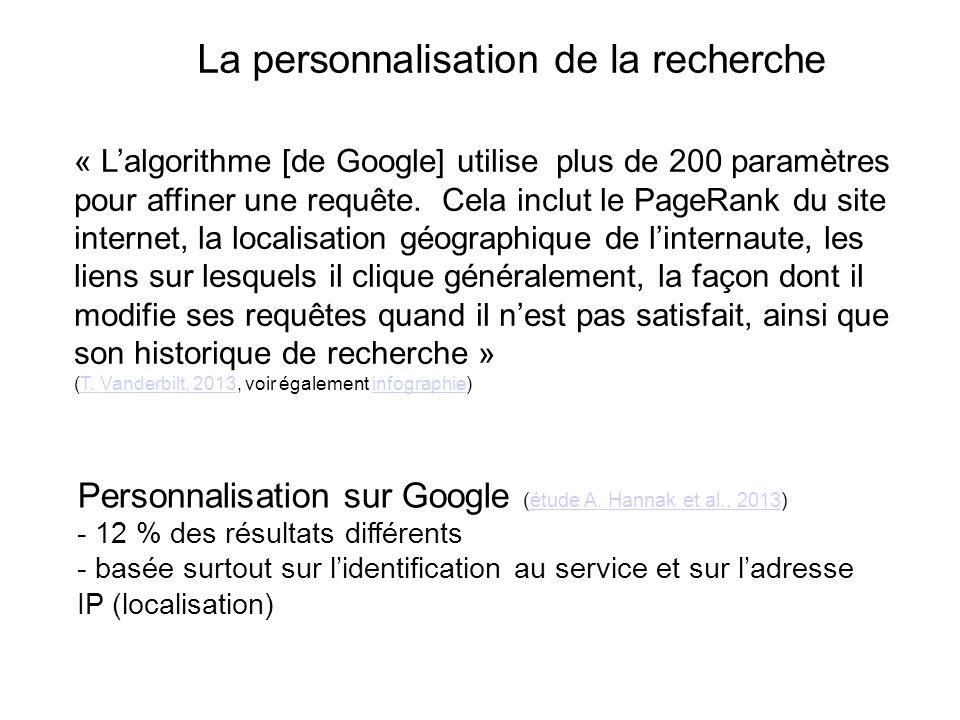 La personnalisation de la recherche Personnalisation sur Google (étude A. Hannak et al., 2013)étude A. Hannak et al., 2013 - 12 % des résultats différ