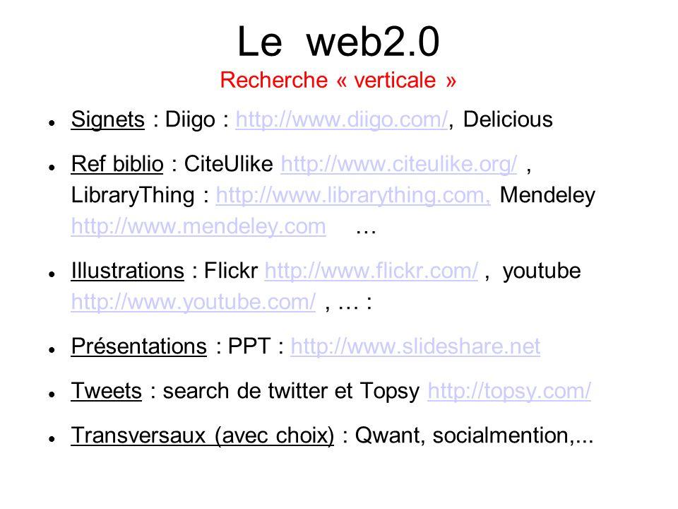Le web2.0 Recherche « verticale » Signets : Diigo : http://www.diigo.com/, Delicioushttp://www.diigo.com/ Ref biblio : CiteUlike http://www.citeulike.