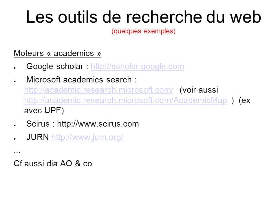 Les outils de recherche du web (quelques exemples) Moteurs « academics » Google scholar : http://scholar.google.comhttp://scholar.google.com Microsoft