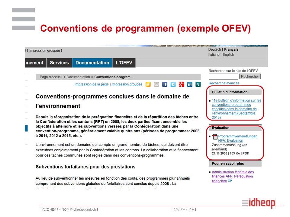 | ©IDHEAP - NOM@idheap.unil.ch | | 19/05/2014 | Conventions de programmen (exemple OFEV)