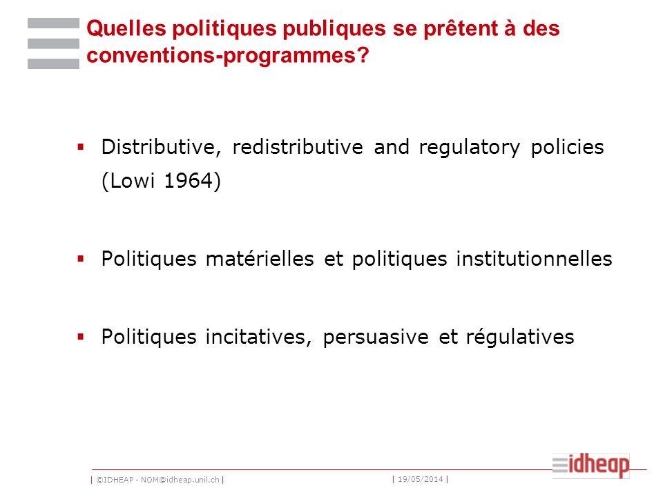 | ©IDHEAP - NOM@idheap.unil.ch | | 19/05/2014 | Quelles politiques publiques se prêtent à des conventions-programmes? Distributive, redistributive and