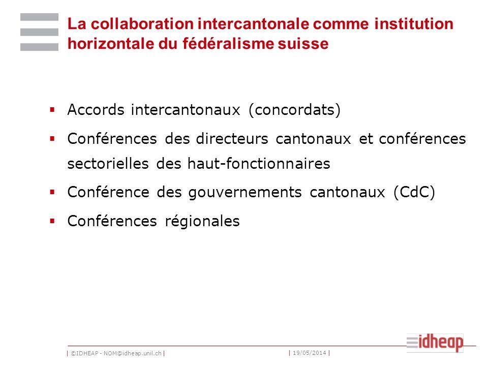 | ©IDHEAP - NOM@idheap.unil.ch | | 19/05/2014 | La collaboration intercantonale comme institution horizontale du fédéralisme suisse Accords intercanto