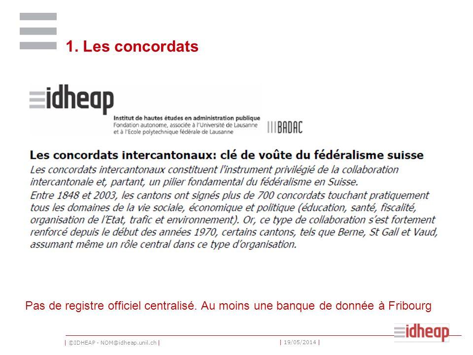 | ©IDHEAP - NOM@idheap.unil.ch | | 19/05/2014 | 1. Les concordats Pas de registre officiel centralisé. Au moins une banque de donnée à Fribourg