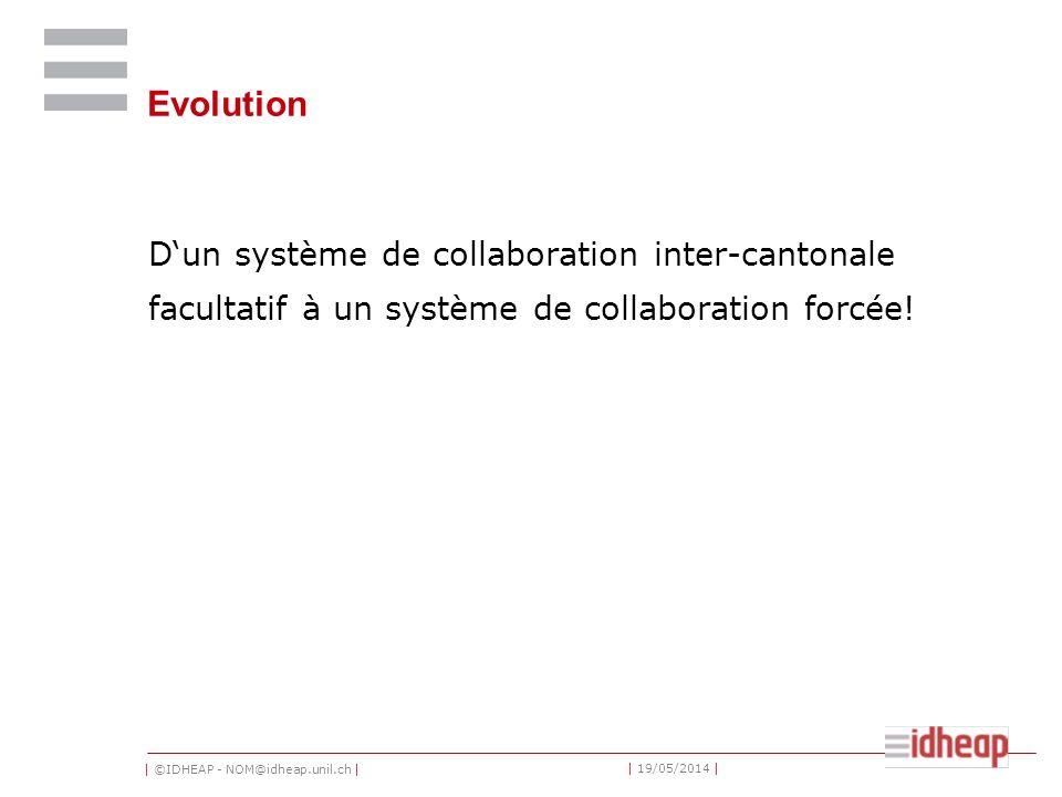| ©IDHEAP - NOM@idheap.unil.ch | | 19/05/2014 | Evolution Dun système de collaboration inter-cantonale facultatif à un système de collaboration forcée!
