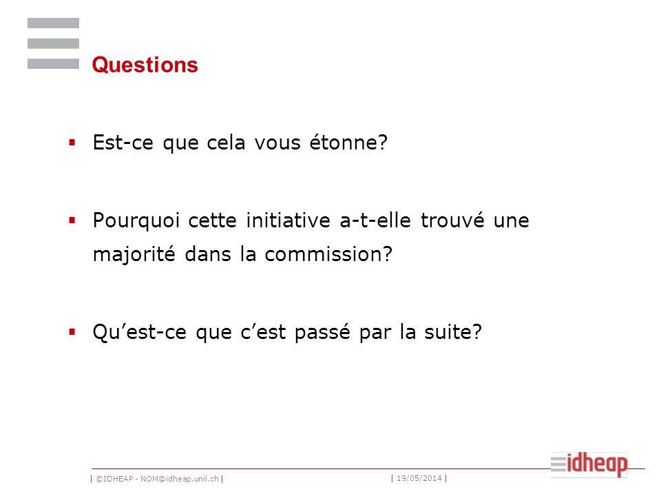 | ©IDHEAP - NOM@idheap.unil.ch | | 19/05/2014 | Questions Est-ce que cela vous étonne? Pourquoi cette initiative a-t-elle trouvé une majorité dans la