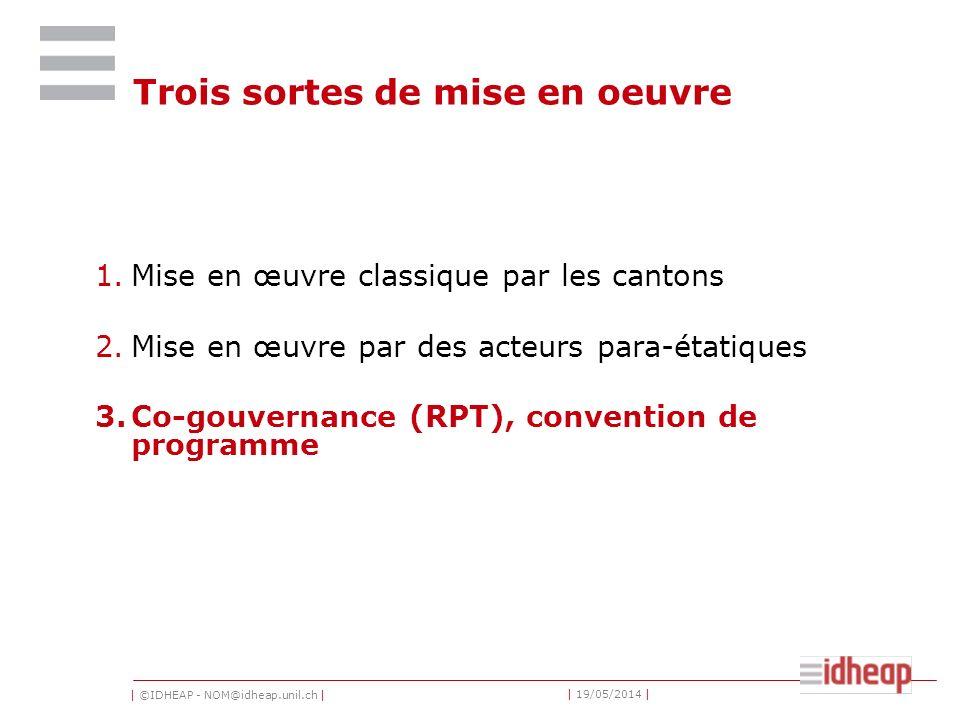 | ©IDHEAP - NOM@idheap.unil.ch | | 19/05/2014 | Trois sortes de mise en oeuvre 1.Mise en œuvre classique par les cantons 2.Mise en œuvre par des acteurs para-étatiques 3.Co-gouvernance (RPT), convention de programme