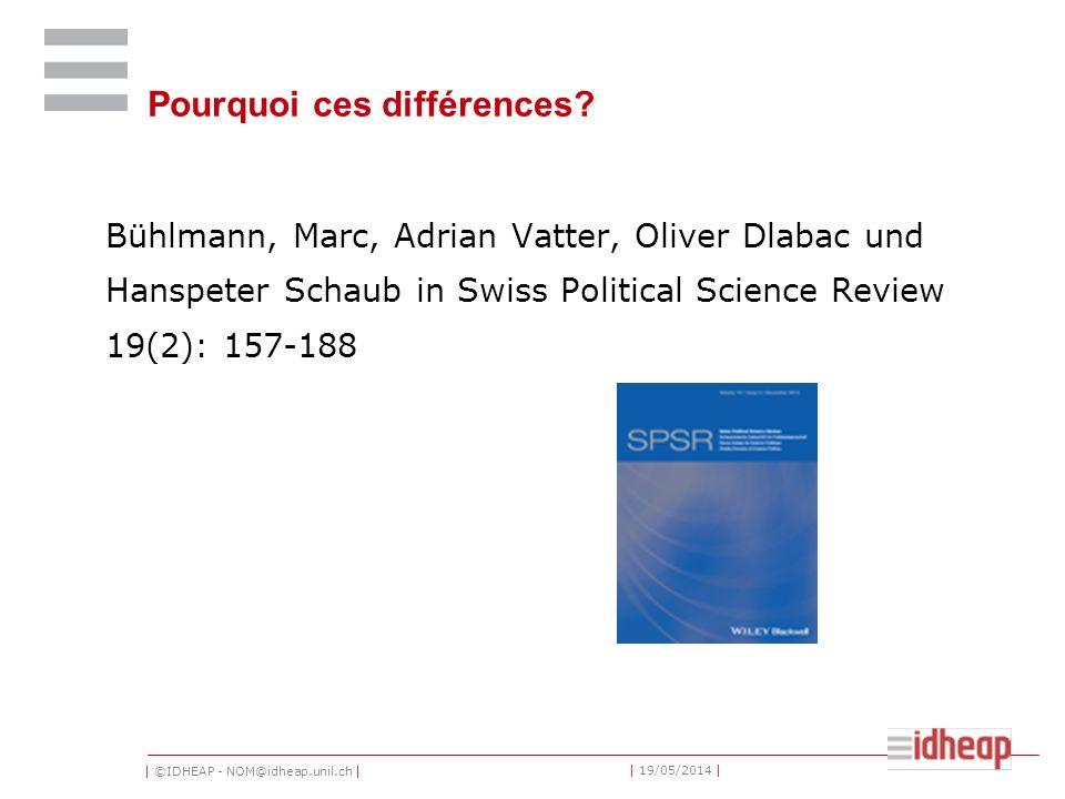 | ©IDHEAP - NOM@idheap.unil.ch | | 19/05/2014 | Pourquoi ces différences? Bühlmann, Marc, Adrian Vatter, Oliver Dlabac und Hanspeter Schaub in Swiss P