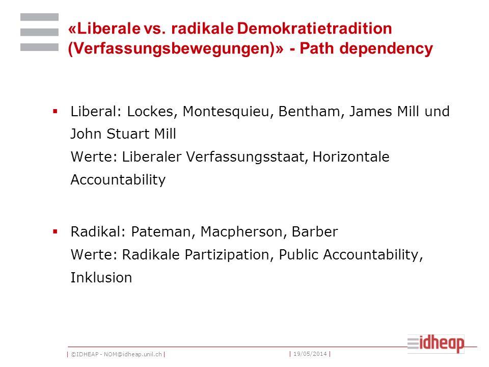 | ©IDHEAP - NOM@idheap.unil.ch | | 19/05/2014 | «Liberale vs. radikale Demokratietradition (Verfassungsbewegungen)» - Path dependency Liberal: Lockes,