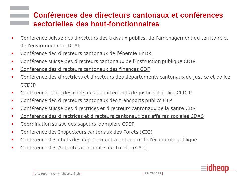| ©IDHEAP - NOM@idheap.unil.ch | | 19/05/2014 | Conférences des directeurs cantonaux et conférences sectorielles des haut-fonctionnaires Conférence su