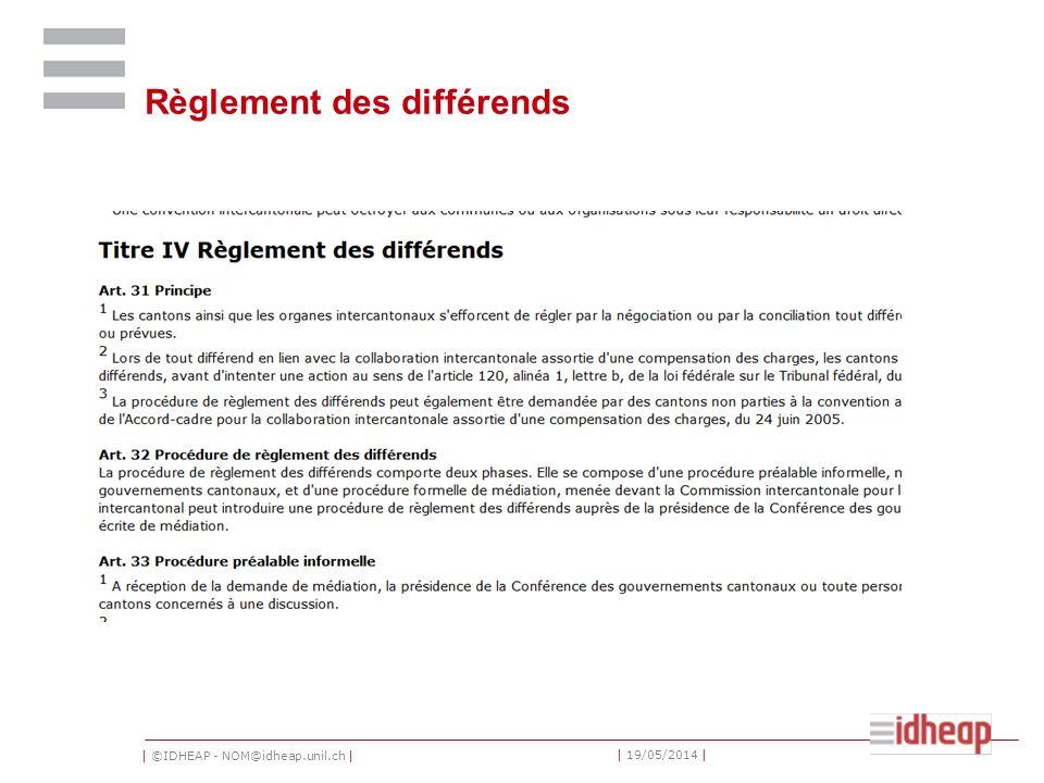 | ©IDHEAP - NOM@idheap.unil.ch | | 19/05/2014 | Règlement des différends