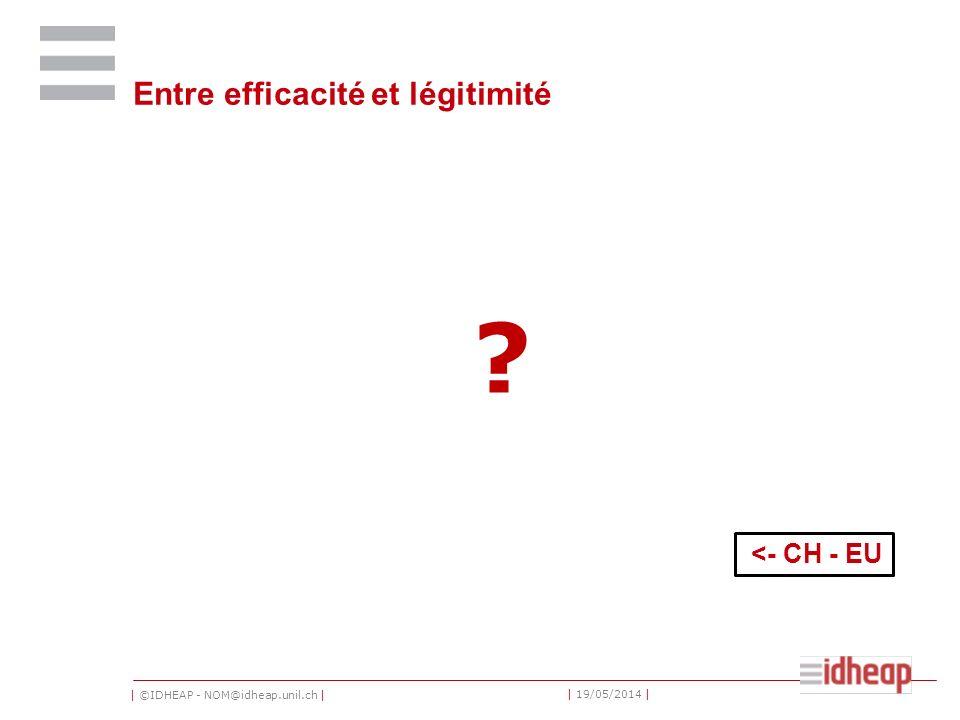 | ©IDHEAP - NOM@idheap.unil.ch | | 19/05/2014 | Entre efficacité et légitimité ? <- CH - EU