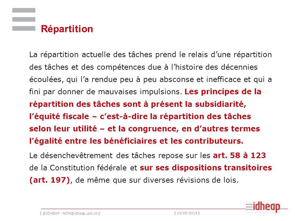 | ©IDHEAP - NOM@idheap.unil.ch | | 19/05/2014 | Répartition La répartition actuelle des tâches prend le relais dune répartition des tâches et des comp