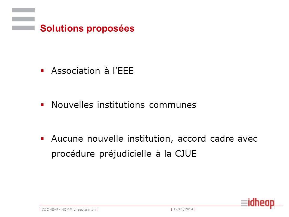 | ©IDHEAP - NOM@idheap.unil.ch | | 19/05/2014 | Solutions proposées Association à lEEE Nouvelles institutions communes Aucune nouvelle institution, ac