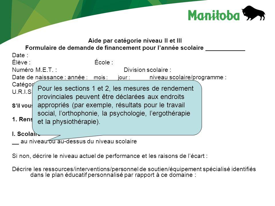 Aide par catégorie niveau II et III Formulaire de demande de financement pour lannée scolaire Date : Élève :École : Numéro M.E.T.