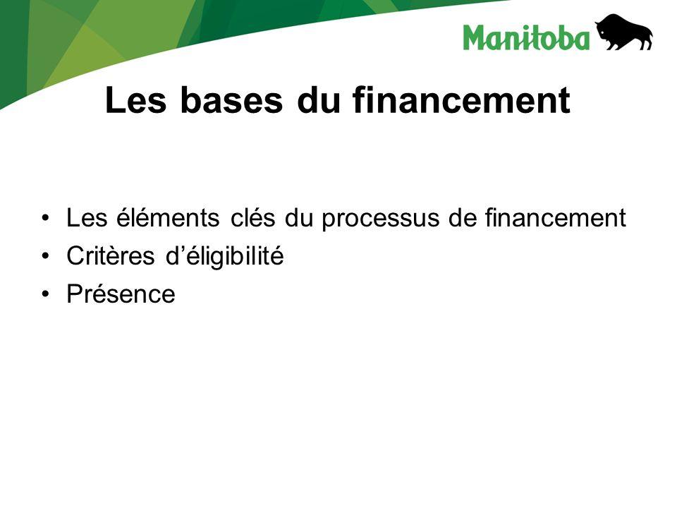 Les bases du financement Les éléments clés du processus de financement Critères déligibilité Présence