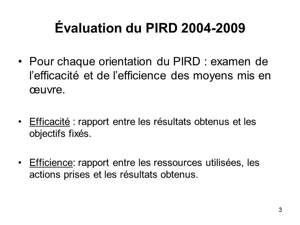 3 Évaluation du PIRD 2004-2009 Pour chaque orientation du PIRD : examen de lefficacité et de lefficience des moyens mis en œuvre.