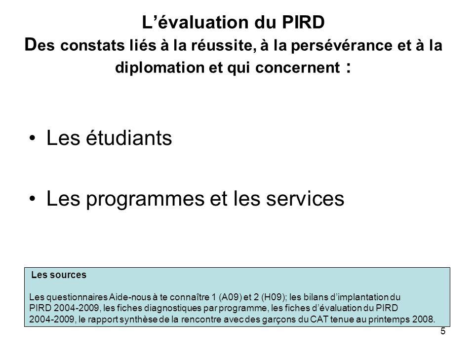 5 Lévaluation du PIRD D es constats liés à la réussite, à la persévérance et à la diplomation et qui concernent : Les étudiants Les programmes et les services Les sources Les questionnaires Aide-nous à te connaître 1 (A09) et 2 (H09); les bilans dimplantation du PIRD 2004-2009, les fiches diagnostiques par programme, les fiches dévaluation du PIRD 2004-2009, le rapport synthèse de la rencontre avec des garçons du CAT tenue au printemps 2008.